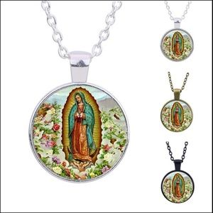 Virgin Mary Glass Necklace